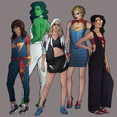 Marvel Fashion Series first set of 5: Kamala Khan (Ms. Marvel), Jennifer Walters (She-Hulk), Gwen Stacy (SpiderGwen), Carol Danvers (Captain Marvel), and Jessica Drew (Spider-Woman).