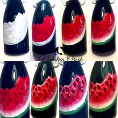 Nail Polish Art, Gel Nail Art, Nail Art Diy, Diy Nails, Cute Nails, Fruit Nail Designs, Nail Art Designs, Fruit Nail Art, Nail Photos