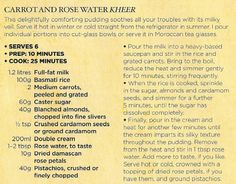Carrot and rose water kheer