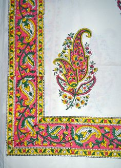 Sanganeri hand-block-printed table cloth in natural cotton, size 60 x by EcollecticsHeritage on Etsy Textile Prints, Textile Patterns, India Pattern, Wood Blocks, Floral Motif, Bohemian Decor, Colorful Fashion, Paisley Print, Damask