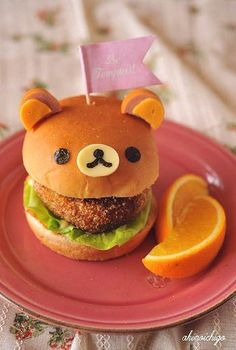 Kids Lunch Idea: Rilakkuma Bear Burger (Ears are made by Sausages, Face is Cheese and Nori Seaweed.): Kids Lunch Idea: Rilakkuma Bear Burger (Ears are made by Sausages, Face is Cheese and Nori Seaweed. Cute Food, Good Food, Yummy Food, Cute Bento, Bento Recipes, Food Humor, Aesthetic Food, Macaroons, Creative Food