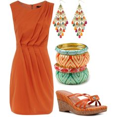 """Orange Dress"" by hvershure on Polyvore"