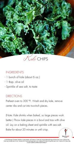 Kale chips are surprisingly delicious! I love chips, and these were a nice substitute :)