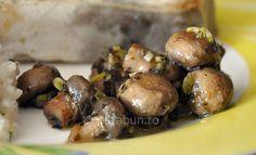 Ciupercuţe sotate şi marinate Sprouts, Bacon, Vegetarian, Vegan, Vegetables, Fruit, Food, Canning, Salads
