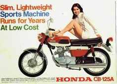The thing that grabs me about that last pic is that both the lady and the bike (i. This gives the bike a. Honda Scooters, Honda Motors, Honda Bikes, Motor Scooters, Classic Honda Motorcycles, Vintage Motorcycles, Vintage Bikes, Vintage Ads, Honda Cb125