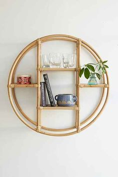 Magical Thinking Rattan Circle Shelf - Urban Outfitters (instead of art on wall over couch in living room)