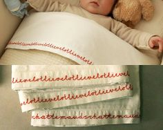 Love the idea of embroidering a poem on a sheet, or maybe wedding vows, song lyrics, etc