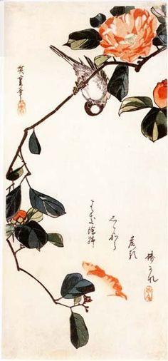 Hiroshige, Camellia and Bird, 1832/ 1840, 39cm x 17cm
