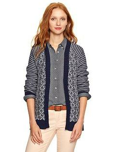 Mix-pattern open-front cardigan