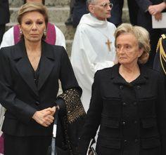 Farah Pahlavi of Iran (L) and Bernadette Chirac (R) attend Yves Saint Laurent's Funeral Service on June 5, 2008 at Eglise Saint-Roch in Paris, France.