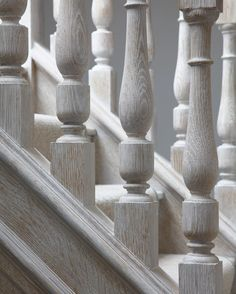 Balustrade details - transformed from dark oak to a stunning lime wash in a kent based project. Interior Design London, Residential Interior Design, Contemporary Interior Design, Stair Detail, Forest Hill, Project Ideas, Projects, Furniture Layout, Staircases