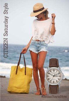 It's time to share with you my favorite casual summer fashion. You are about to know how to look great in casual clothes this hot season. This style is common for everyone. I know many ladies who wear only casual… Continue Reading → Summer Wear, Spring Summer Fashion, Summer 3, Spring Break, Style Summer, Summer Shorts, Summer Chic, Summer Denim, Summer Loving