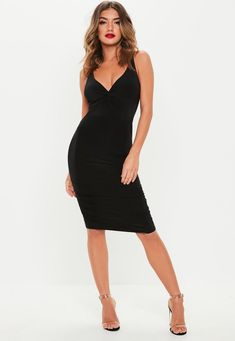ea098de4e3c1 Black Twist Slinky Ruched Midi Dress | Missguided Missguided, Fall Outfits,  Bodycon Dress,
