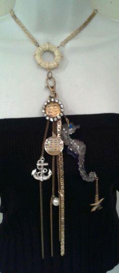 Betsey Johnson Nautical Lucite Horse Necklace Bubble Tag Rare #BetseyJohnson #Statement