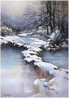 """Frozen Path - Ohio"" Thomas W Schaller - Watercolor. 22 x15 inches - 28 Feb. 2015"