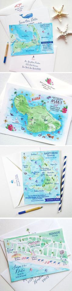 Too cute! Watercolor Map Save The Dates are perfect for destination weddings. 100% Original Art. Greece, Maui Hawaii, Cape Cod, Aruba, Seaside Florida, and Key West Florida map save the date designs now available! - www.mospensstudio.com