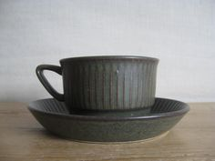Stavangerflint Norway - NORDKAPP - tea cup & saucer - green - midcentury