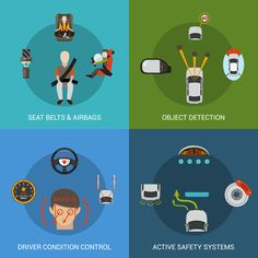 Buy Car Safety System Set by macrovector on GraphicRiver. Car safety system design concept set with seat belt airbag object detection driver condition control flat icons isola. Flat Icons, Safety, Conditioner, Concept, Belt, Stock Photos, Car, Transportation, Vehicle