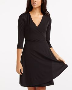 Cross-Over Dress - Reitmans Canadian Clothing, Romantic Dinners, Night Out, Ready To Wear, Wrap Dress, Neckline, Couture, Skirts, Sleeves