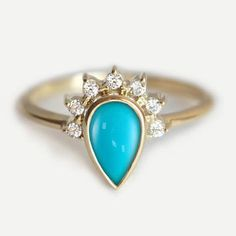 Turquoise Engagement Ring, Engagement Turquoise Ring, Pear En… More
