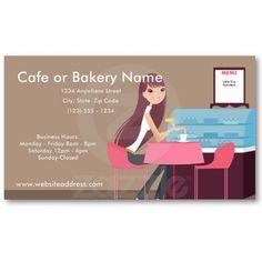 En las tarjetas de visita de la tienda del café/de