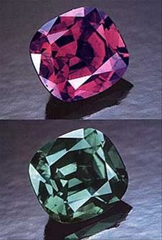 A variety of Chrysoberyl, alexandrite is pleochroic, which means it changes color depending on the angle at which it is viewed. Its color-changing property is due to an exceedingly rare combination of minerals that includes titanium, iron and chromium.