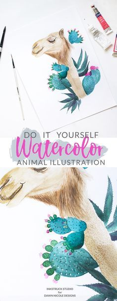 Are you a furry creature lover? Then this DIY watercolor animal illustration using the example of a camel will make you go all ga-ga ! - Inkstruck Studio for Dawn Nicole Designs