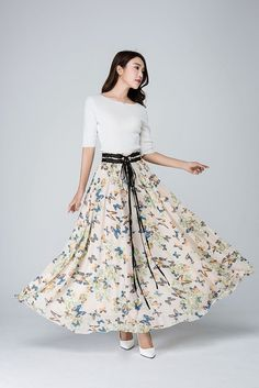 Maxi chiffon skirt, swing skirt,womens skirts,long skirt,summer skirt,prom skirt,chiffon maxi skirt,butterfly print, made to measure 1569