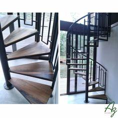 Uma escada em caracol com degraus em madeira de demolição de pipas de vinho! Az arte natural - Móveis em madeira feitos a mão.