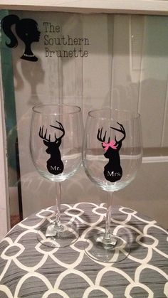 Set of 2 Mr. and Mrs. Deer Wine Glasses on Etsy, $14.99
