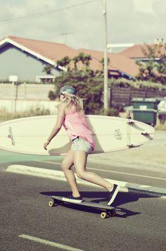 tomboys are the cool girls. surf, skate, longboard, surfer girl, skater girl