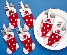 Design Works - Portacubiertos (fieltro), diseño de calcetín navideño, multicolor: Amazon.es: Hogar