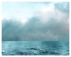Ocean Photograph, aqua, grayed jade, sea, clouds, As Aqua As the Sea, nature print 8x10
