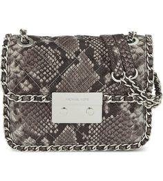 MICHAEL MICHAEL KORS Carine medium snale-effect leather shoulder bag