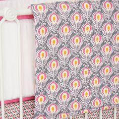 Pink Peacock Crib Blanket