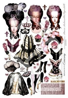 Paper Doll Marie Antoinette Digital Collage Print Sheet no147. $2.95, via Etsy.