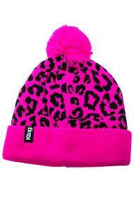Ktag NYC The Snow Leopard Pom Pom Beanie in Pink and Black