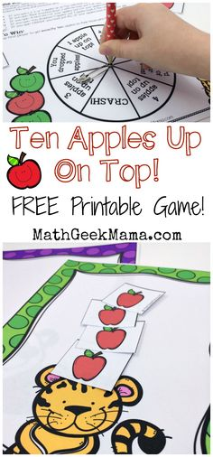 """This super cute printable math game is perfect to play with the book, """"Ten Apples Up On Top!"""" Kids can practice counting and adding and subtracting to 10! Plus, it's a great way to combine math and reading!"""