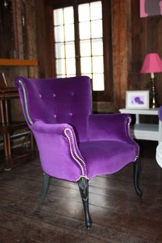 Purple Velvet Arm Chair, $875.  Heaven, I'm in heaven...