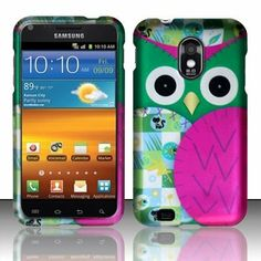 PINK PATCHED OWL Hard Plastic Design Matte Case For Samsung Epic Touch 4G Galaxy S II D710 (Sprint) / Samsung Galaxy S II R760
