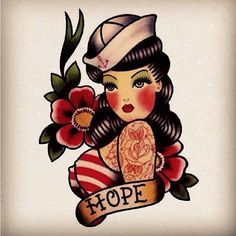 Hope Sailor Girl tattoo flash by Quyen Dinh. Inspiration. Please choose cruelty free vegan art supplies or tattoo inks