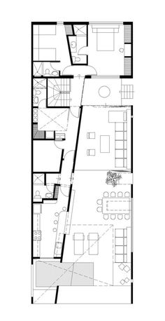 A very clever use of space. I love the use of the diagonal to create both interest and the spaces needed for both large and small rooms. House in Las Arenas / Javier Artadi floor plan – ArchDaily Angular Architecture, Architecture Images, Architecture Drawings, Residential Architecture, Architecture Details, Interior Architecture, The Plan, How To Plan, Kitchen Floor Plans