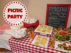 Great Theme for Your Next Party! . . . PICNIC . . . simple, oh-so-easy menu and great red and white colors. #party