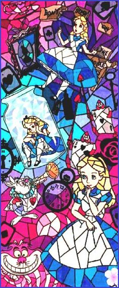 BUY 2, GET 1 FREE! Alice in Wonderland Stained Glass Disney 212 Cross Stitch Pattern Counted Cross Stitch Chart, Pdf Format /154358 by icrossstitchpattern on Etsy