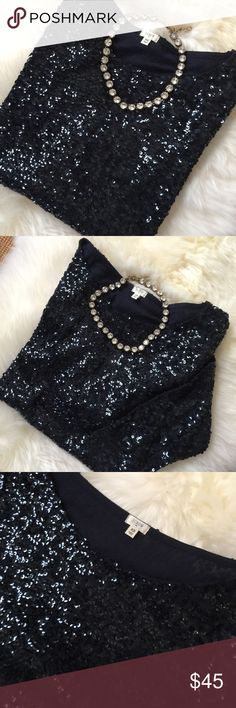 🎄JCrew Sequin Top 🎄 This beautiful navy Sequin 3/4 Sleeve top from the JCrew Factory... is the perfect special occasion top for sparkle and shine to compliment any outfit.  Great for those holiday special occasions and parties. Gently loved in perfect condition. Bundle for my sellers special offer. 🎄☃️🍾🥂🎁 J. Crew Tops Blouses