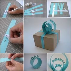 Presents wrapped in a creative way are so lovely! It's great to see how much effort and care were put into making someone happy. Here is a cute idea to decorate the gift in a pretty way. You will need: strips of paper printed signs double sided tape or glue …