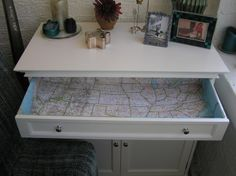 DIY Map Drawer Liner