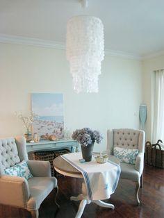 Make a capiz chandelier with wax paper