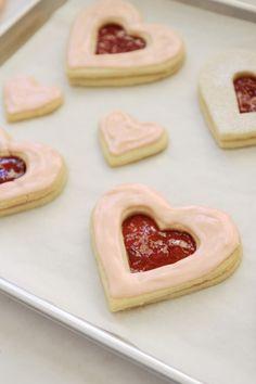 Jenny Steffens Hobick: Shortbread Heart Sandwich Cookies filled with Strawberry Jam