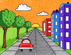 Draw a City with One Point Perspective · Art Projects for Kids Scenery Drawing For Kids, Drawing Lessons For Kids, Easy Drawings For Kids, Painting For Kids, Art For Kids, Drawing Images For Kids, Basic Drawing For Kids, Dot Painting, One Point Perspective